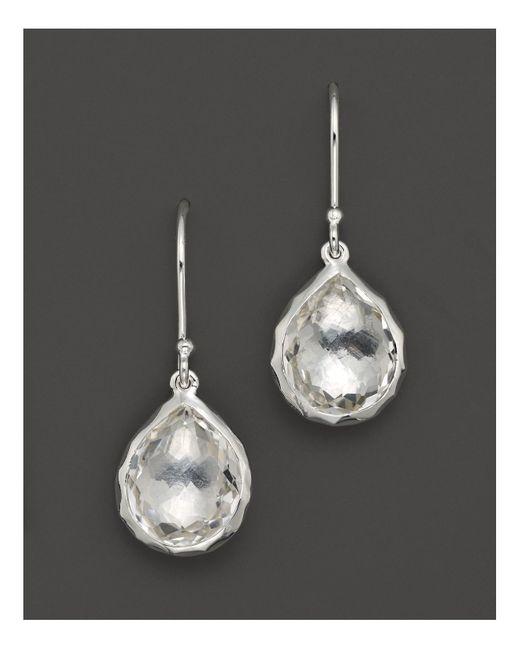 Ippolita | Metallic Sterling Silver Rock Candy Teeny Teardrop Earrings In Clear Quartz | Lyst