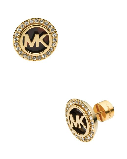 Michael Kors | Metallic Logo Pave Stud Earrings | Lyst