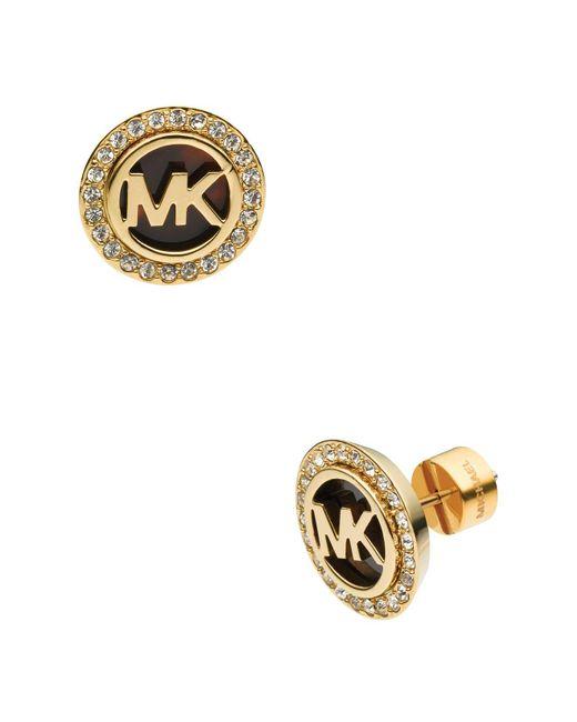 Michael Kors   Metallic Monogram Tortoise-print & Pave Stud Earrings   Lyst