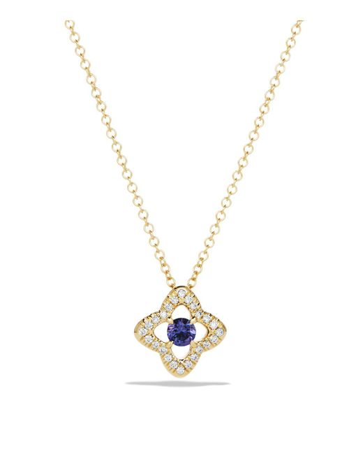 David Yurman | Blue Venetian Quatrefoil Necklace With Tanzanite And Diamonds In 18k Gold | Lyst