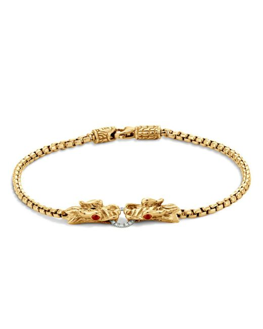 John Hardy - Metallic Naga 18k Yellow Gold Box Chain Bracelet With Diamonds And African Ruby Eyes - Lyst