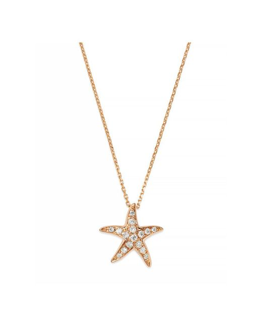 Bloomingdale's - Pink Diamond Starfish Pendant Necklace In 14k Rose Gold, .14 Ct. T.w. - Lyst