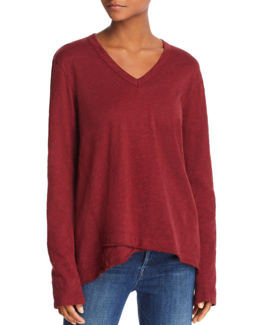 Wilt - Red High/low V-neck Tee - Lyst