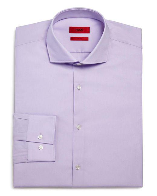 HUGO - Purple Jason Slim Fit Dress Shirt for Men - Lyst