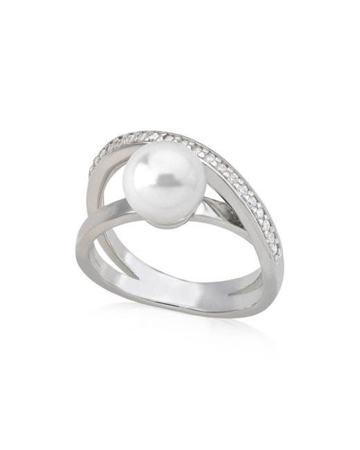 Majorica - Metallic Crisscrossed Simulated Pearl Ring In Sterling Silver - Lyst