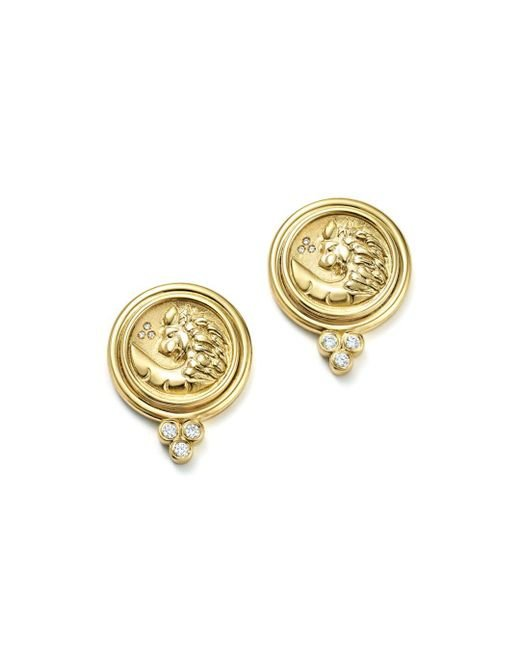 Temple St. Clair - Metallic 18k Yellow Gold Lion Coin Diamond Earrings - Lyst