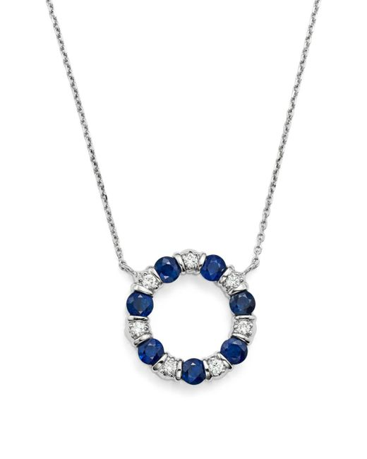 "Bloomingdale's - Blue Sapphire And Diamond Pendant Necklace In 14k White Gold, 16"" - Lyst"