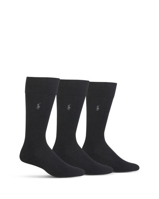 Polo Ralph Lauren   Black Cushioned Crew Socks - Pack Of 3 for Men   Lyst