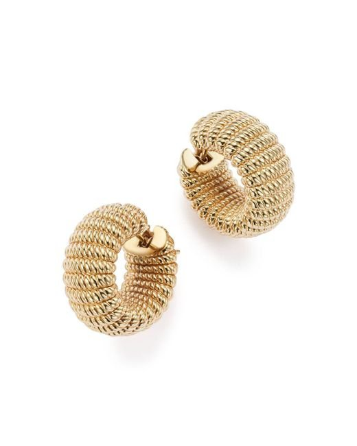 Roberto Coin - Metallic 18k Yellow Gold Chic And Shine Hoop Earrings - Lyst