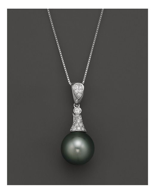 """Bloomingdale's - Black Diamond And Tahitian Pearl Pendant Necklace In 14k White Gold, 18"""" - Lyst"""