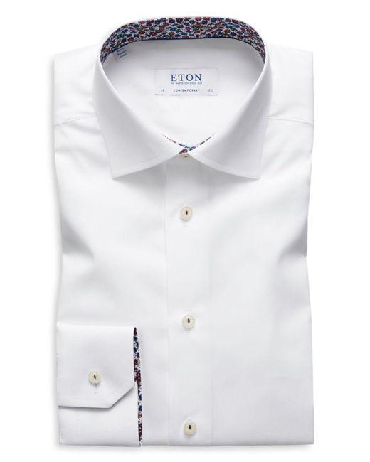 Eton of Sweden - White Floral-accent Regular Fit Dress Shirt for Men - Lyst