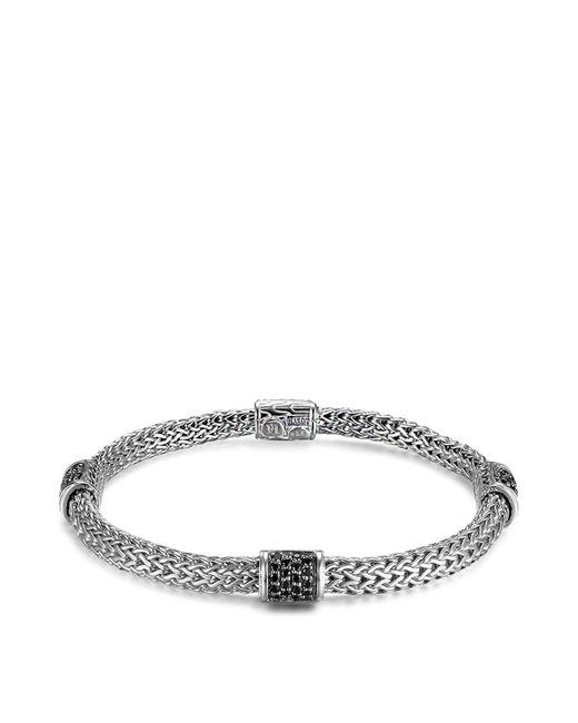 John Hardy | Metallic Classic Chain Silver Lava Four Station Chain Bracelet With Black Sapphires | Lyst