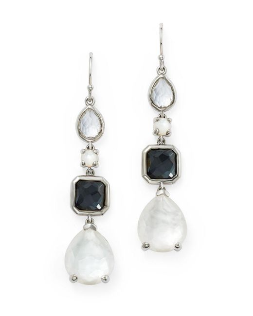 Ippolita - Metallic Hematite Doublet & Clear Quartz Linear Drop Earrings In Piazza - Lyst
