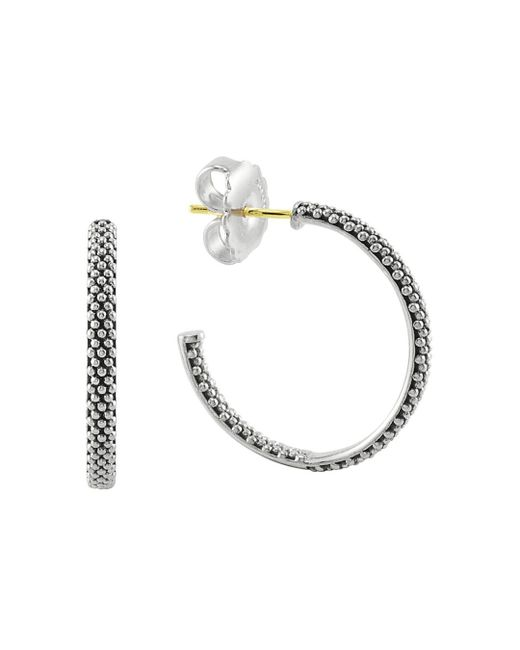 Lagos - Metallic Sterling Silver Signature Caviar Hoop Earrings - Lyst
