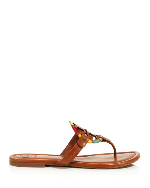 93b20eb6e8a5f Lyst - Tory Burch Women s Miller Leather Sandals in Brown - Save 13%