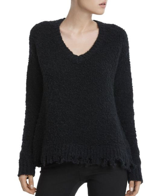 ATM - Black Destroyed Chenille Sweater - Lyst