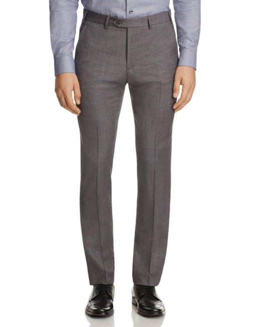 Armani - Gray Tonal Crosshatch Classic Fit Trousers for Men - Lyst