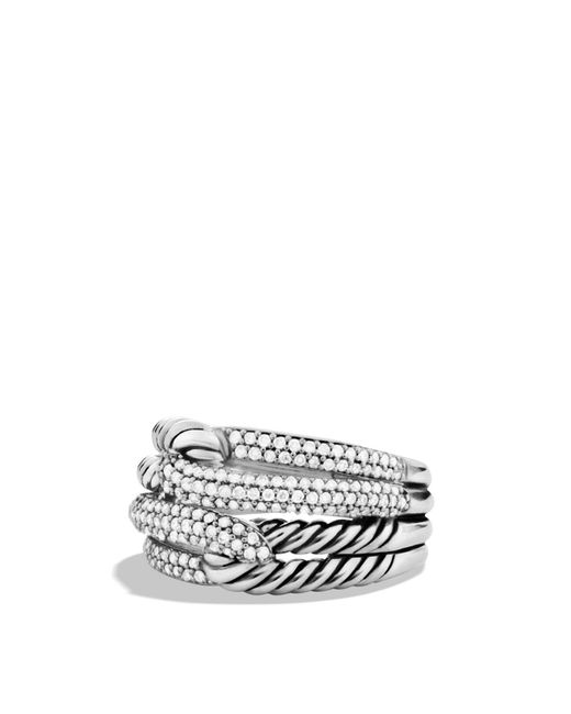 David Yurman | Metallic Labyrinth Double-loop Ring With Diamonds | Lyst