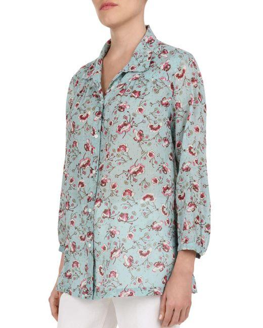 c53f4bd6983006 Gerard Darel - Green Elliane Floral Cotton Button-down Shirt - Lyst ...