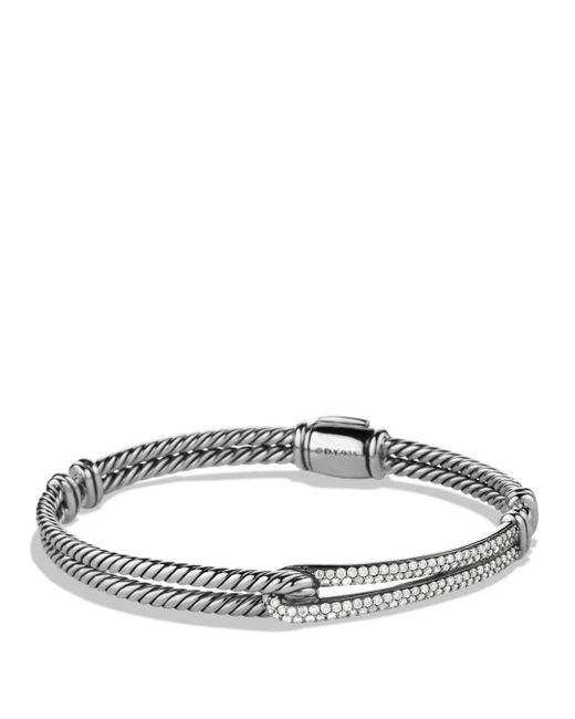 David Yurman - Metallic Petite Pave Labyrinth Single-loop Diamond Bracelet - Lyst