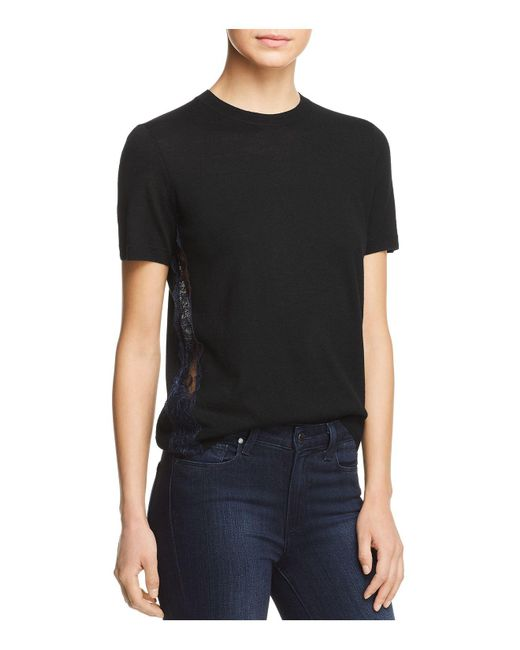 Tory Burch | Black Ruby Lace-inset Short-sleeve Sweater | Lyst
