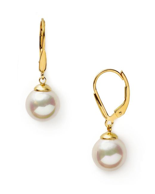 Majorica - 10mm White Simulated Pearl Drop Eurowire Earrings - Lyst