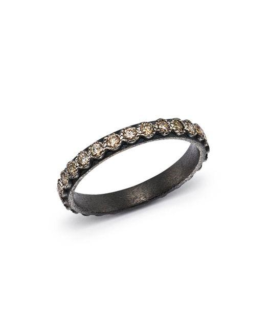 Armenta - Metallic Blackened Sterling Silver Old World Diamond Stacking Ring - Lyst