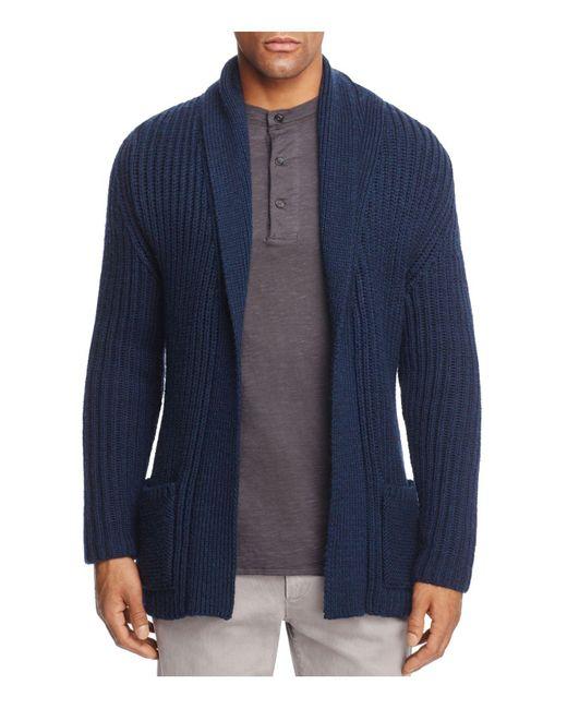 Eidos | Blue English Rib Belted Cadigan for Men | Lyst