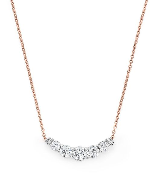 Bloomingdale's - Metallic Diamond Graduated Pendant Necklace In 14k Rose Gold, .50 Ct. T.w. - Lyst