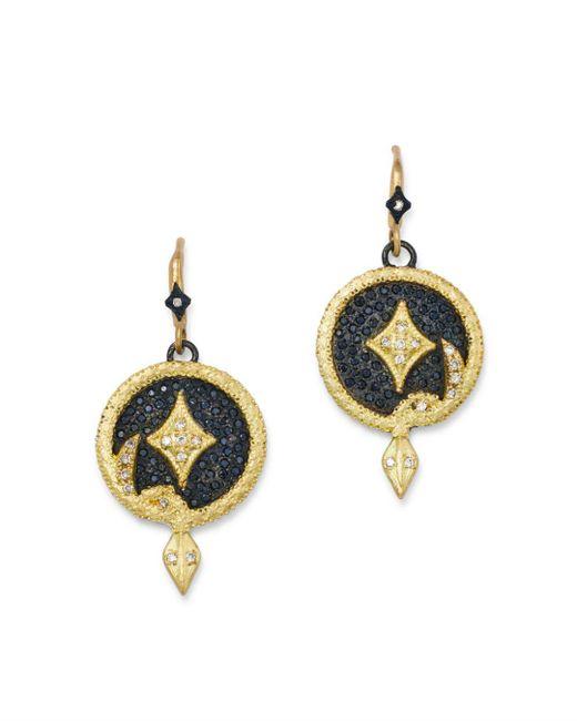 Armenta - Metallic 18k Yellow Gold & Blackened Sterling Silver Old World Champagne Diamond Serpent Disc Drop Earrings - Lyst