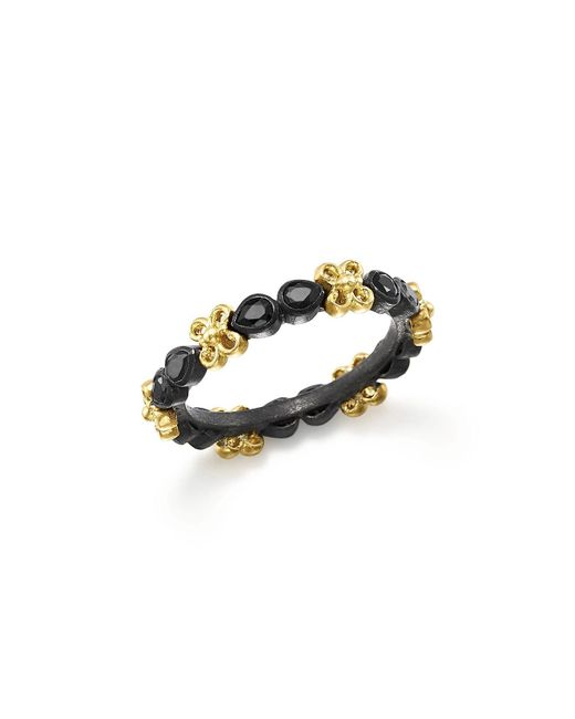 Armenta | Metallic 18k Yellow Gold And Blackened Sterling Silver Old World Black Sapphire Stacking Ring | Lyst