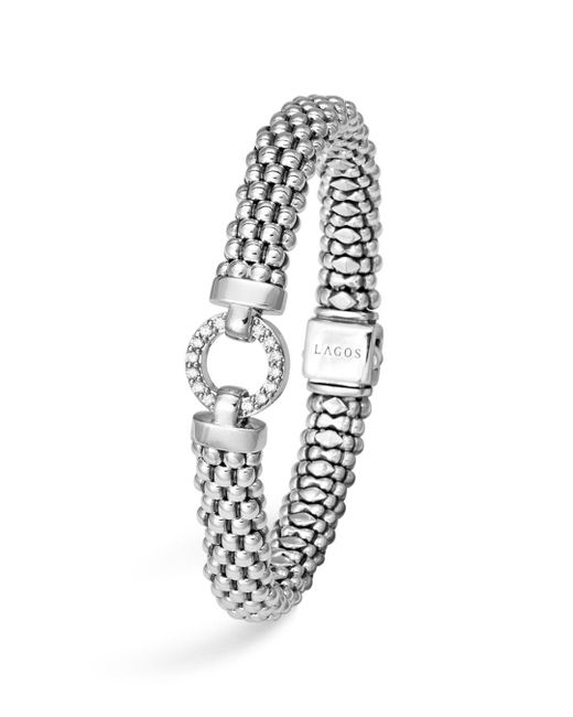 Lagos - White Sterling Silver Enso Rope Bracelet With Diamonds - Lyst