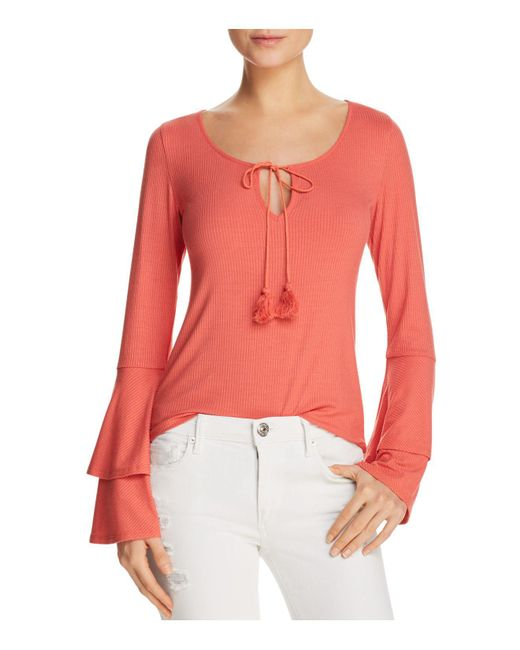 Band Of Gypsies - Multicolor Ribbed Bell-sleeve Top - Lyst