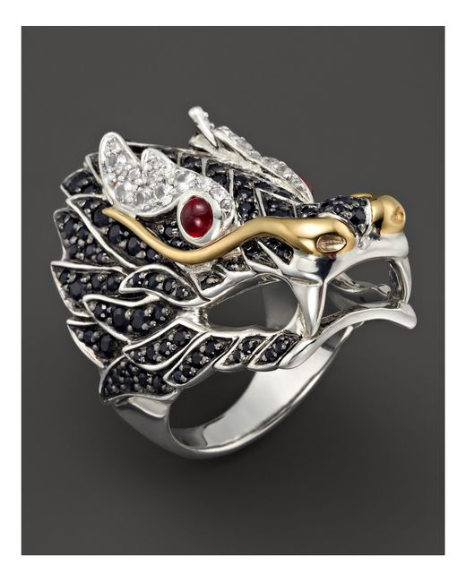 John Hardy   Black Sterling Silver & 18k Gold Naga Lava Dragon Ring   Lyst