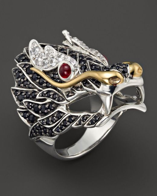 John Hardy | Black Sterling Silver & 18k Gold Naga Lava Dragon Ring | Lyst