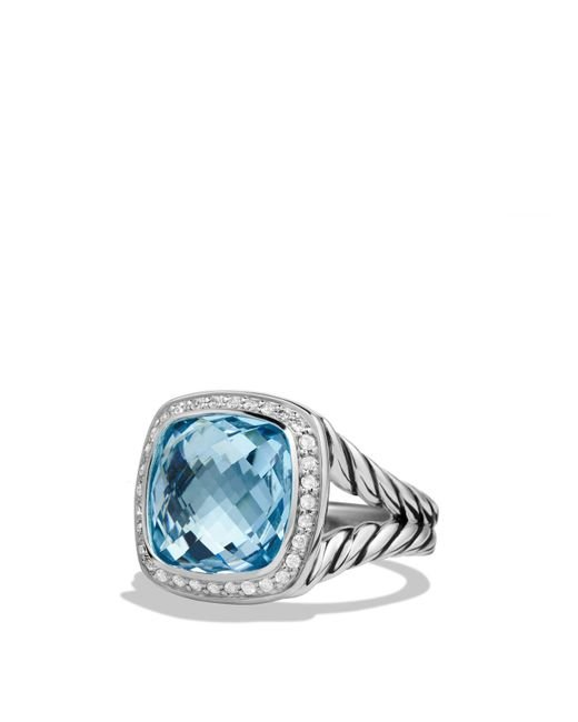 David Yurman - Albion Ring With Blue Topaz And Diamonds - Lyst