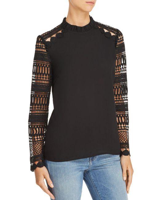 Aqua - Black Lace-sleeve Top - Lyst