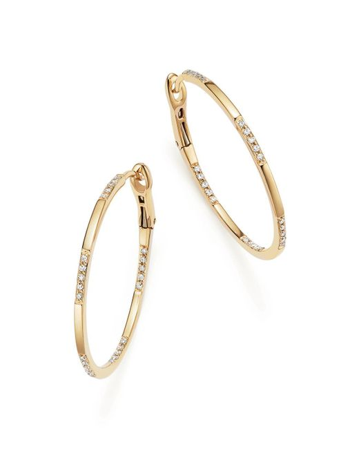 KC Designs | 14k Yellow Gold Diamond Micro Pavé Hoop Earrings | Lyst