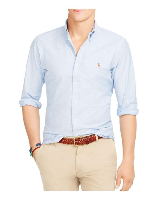 Polo Ralph Lauren | Blue Slim-fit Stretch-oxford Shirt for Men | Lyst
