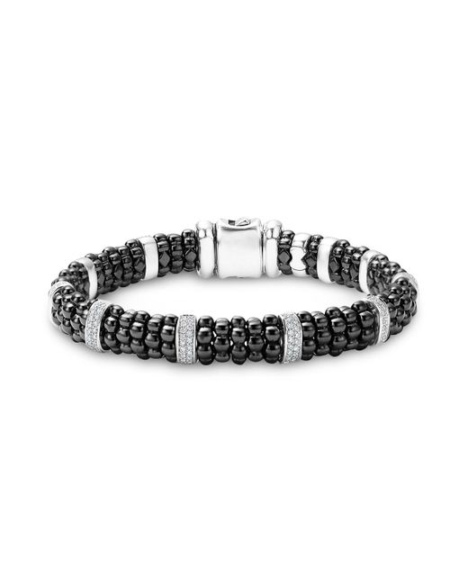 Lagos - Black Caviar Ceramic And Sterling Silver Bracelet With Pavé Diamond Bars - Lyst