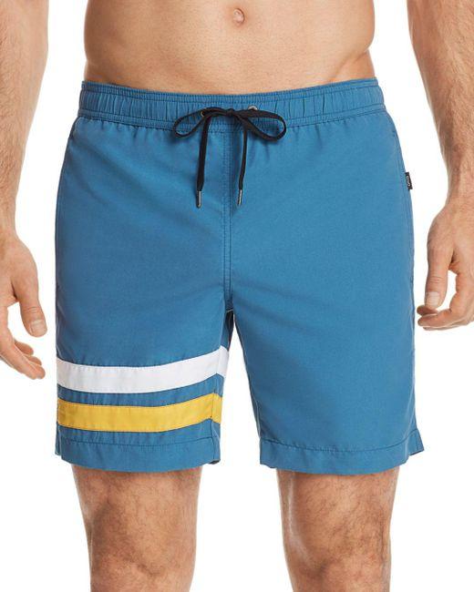 Onia - Blue Charles Striped Swim Trunks for Men - Lyst