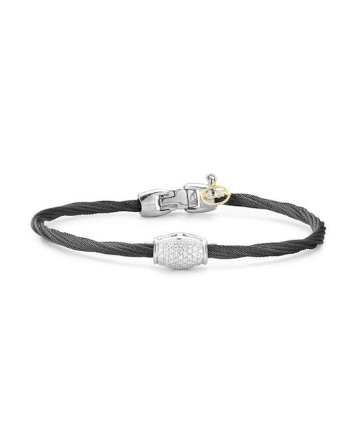 Alor - Metallic Diamond Cable Bangle - Lyst