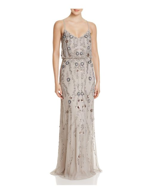 Adrianna Papell   Multicolor Beaded Blouson Gown   Lyst
