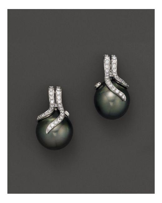 Tara Pearls | Black Diamond And Tahitian Cultured Pearl Drop Earrings | Lyst