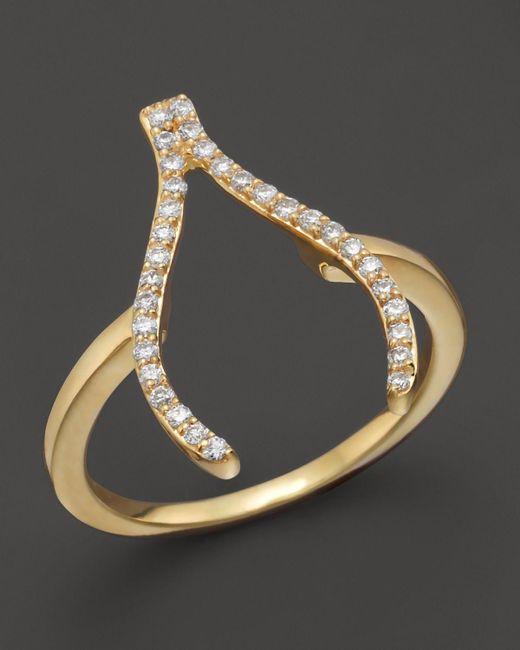 Khai Khai | Diamond Wishbone Ring In 18k Yellow Gold, .2 Ct. T.w. | Lyst