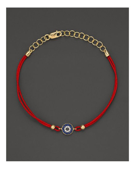Meira T | Red Blue Sapphire And 14k Yellow Gold Evil Eye Bracelet | Lyst