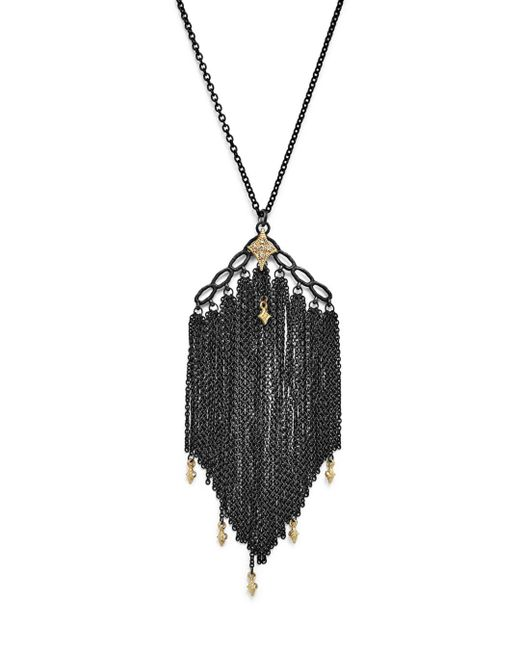 Armenta - Multicolor 18k Yellow Gold & Sterling Silver Old World Cravelli Tassel Necklace With Champagne Diamonds - Lyst