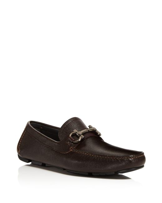 Ferragamo | Brown Parigi Pebbled Leather Loafers for Men | Lyst