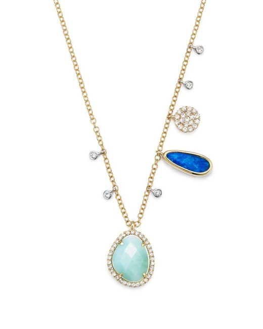 Meira T - Multicolor Opal And Diamond Necklace - Lyst