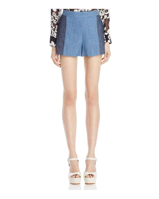 Alice + Olivia | Blue Alice + Olivia Madison Contrast Chambray Shorts | Lyst